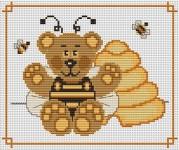 Медвежонок и пчелы.  17.01.2011. Бесплатные схемы.  Медвежата.